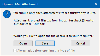 Disabled option: Always ask before opening this type of file.