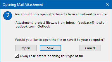 Enabled option: Always ask before opening this type of file.